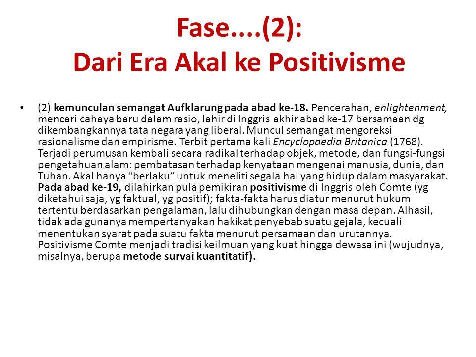 Fase....(2): Dari Era Akal ke Positivisme