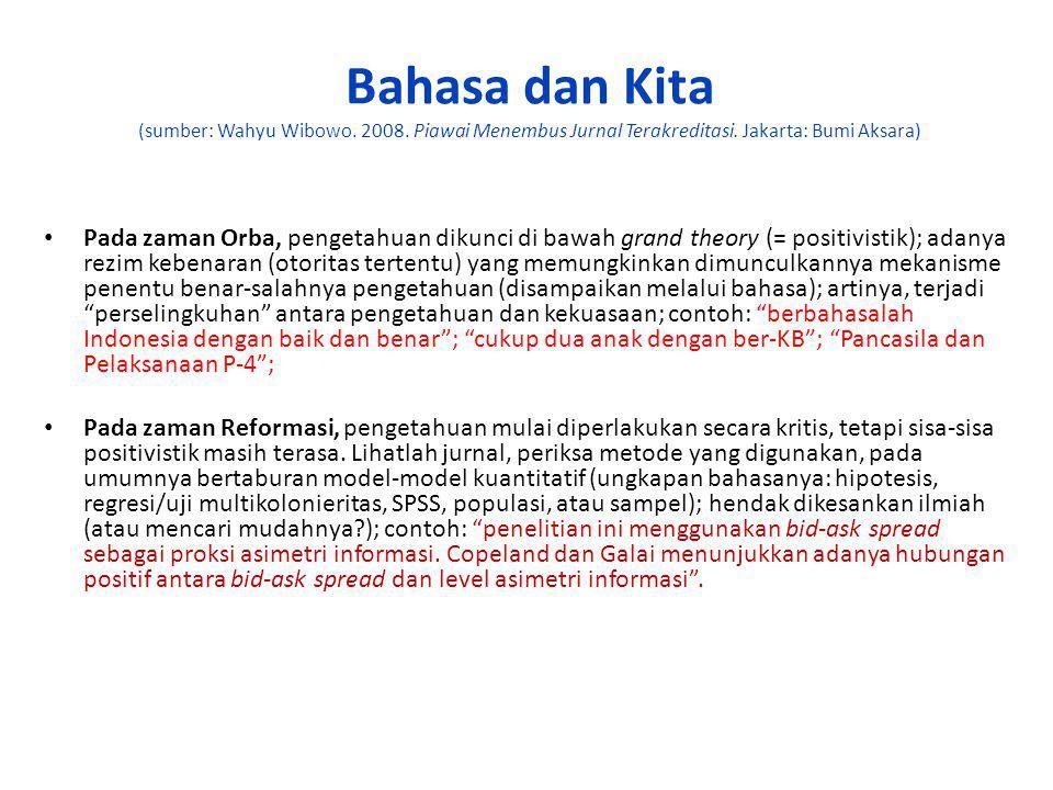 Bahasa dan Kita (sumber: Wahyu Wibowo. 2008