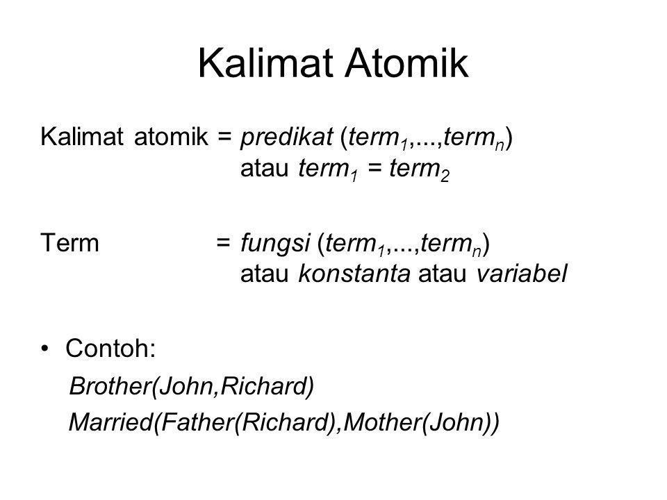 Kalimat Atomik Kalimat atomik = predikat (term1,...,termn) atau term1 = term2.