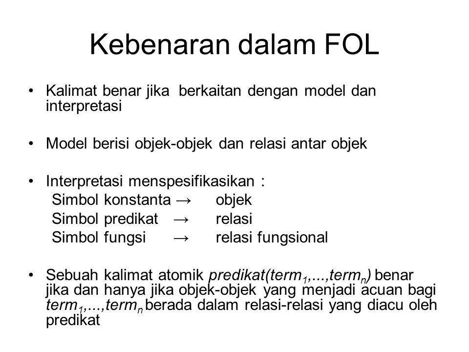 Kebenaran dalam FOL Kalimat benar jika berkaitan dengan model dan interpretasi. Model berisi objek-objek dan relasi antar objek.