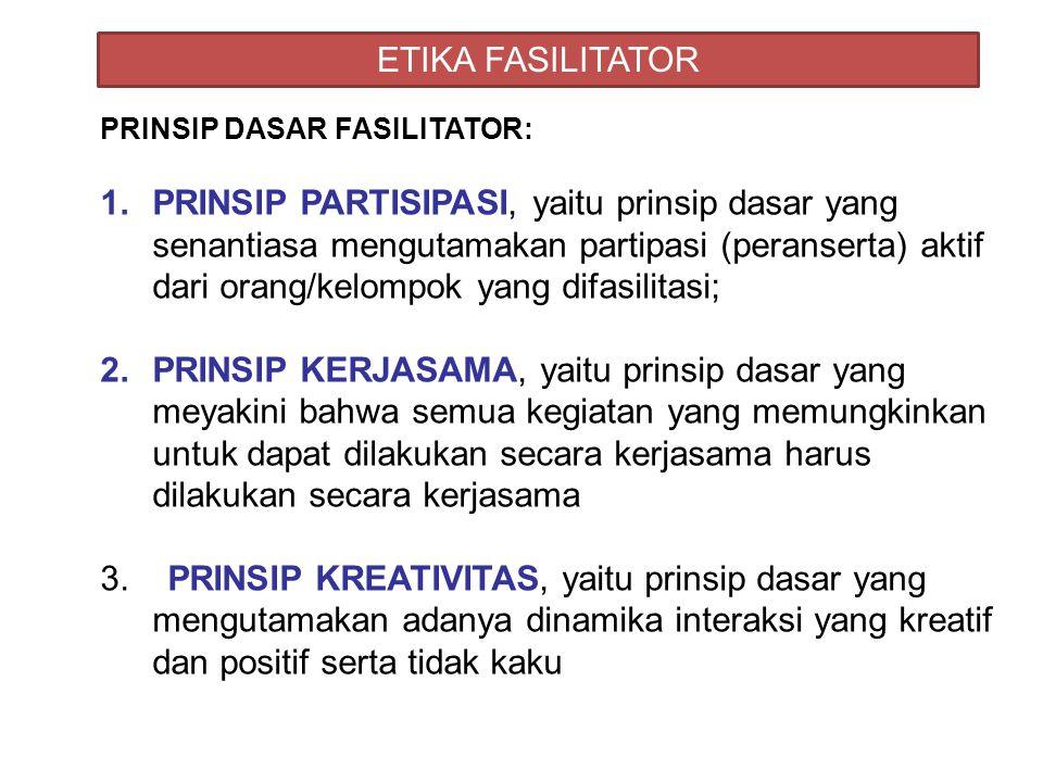 ETIKA FASILITATOR PRINSIP DASAR FASILITATOR: