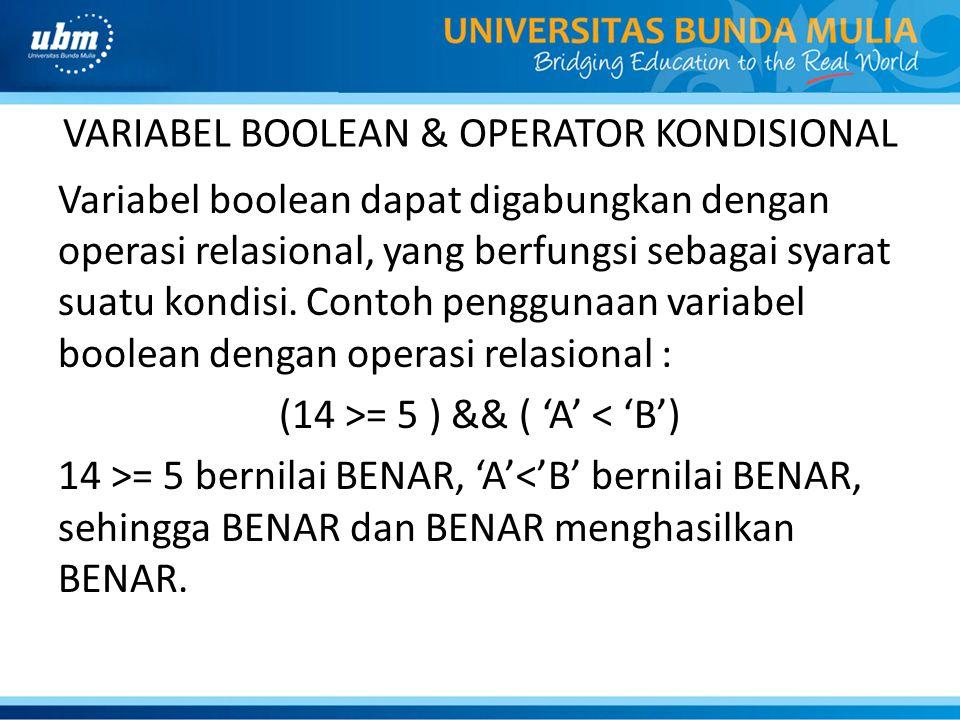 VARIABEL BOOLEAN & OPERATOR KONDISIONAL