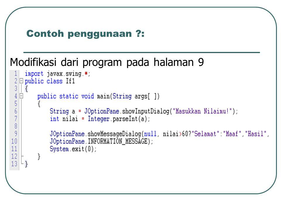 Modifikasi dari program pada halaman 9