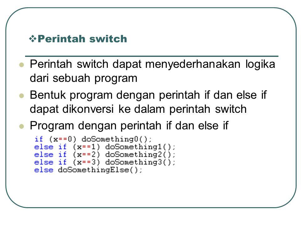 Perintah switch dapat menyederhanakan logika dari sebuah program