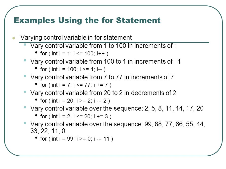 Examples Using the for Statement