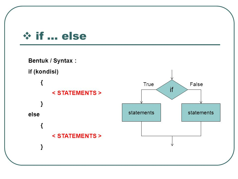 if … else if Bentuk / Syntax : if (kondisi) { < STATEMENTS > }