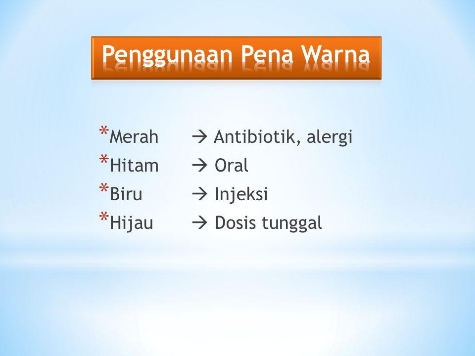 Penggunaan Pena Warna Merah  Antibiotik, alergi Hitam  Oral