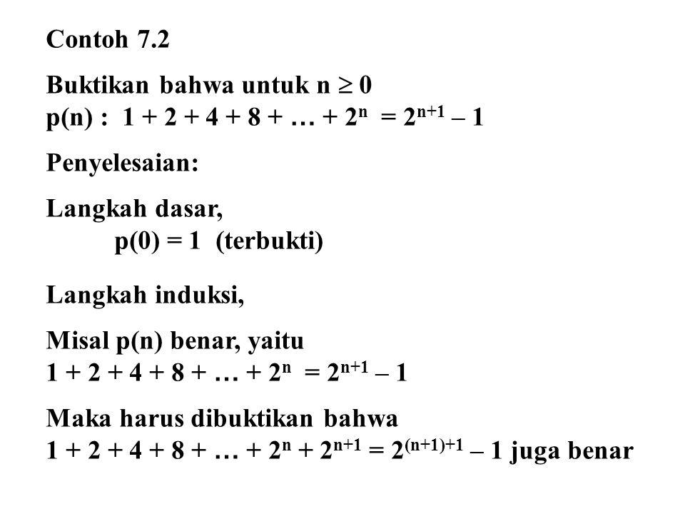 Contoh 7.2 Buktikan bahwa untuk n  0. p(n) : 1 + 2 + 4 + 8 + … + 2n = 2n+1 – 1. Penyelesaian: Langkah dasar,