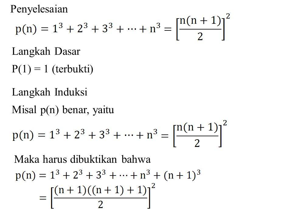 Penyelesaian Langkah Dasar. P(1) = 1 (terbukti) Langkah Induksi.