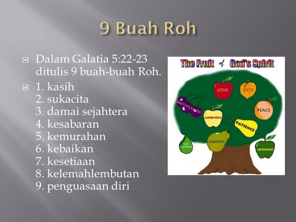 9 Buah Roh Dalam Galatia 5:22-23 ditulis 9 buah-buah Roh.