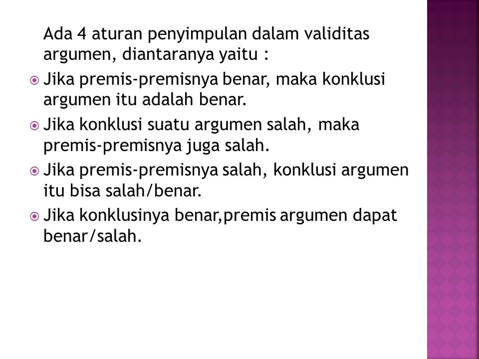 Ada 4 aturan penyimpulan dalam validitas argumen, diantaranya yaitu :