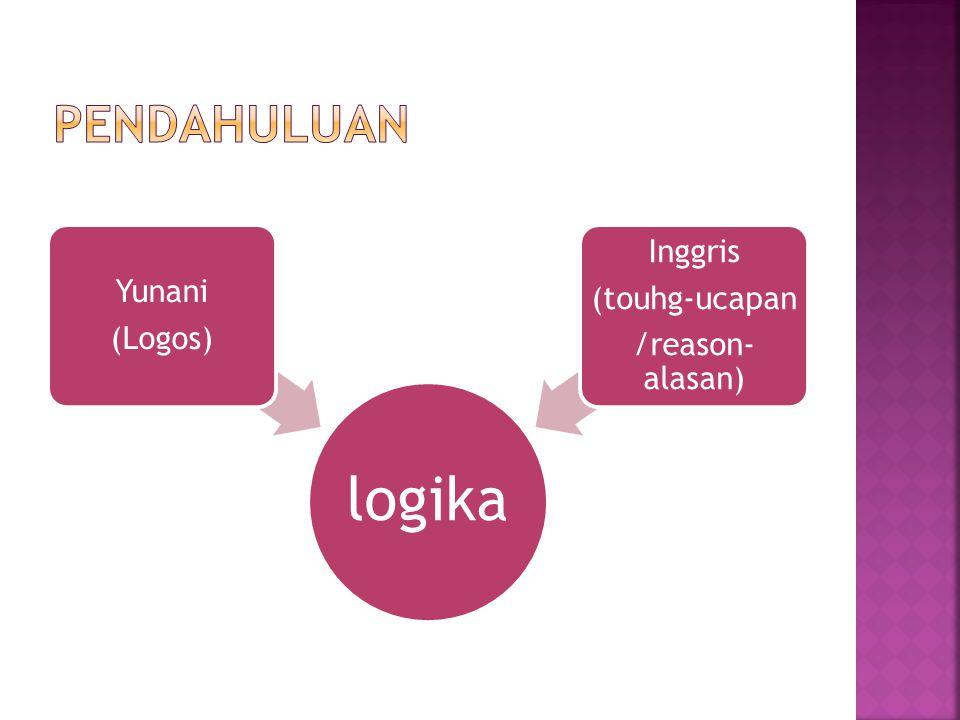 Pendahuluan logika (Logos) Yunani /reason-alasan) (touhg-ucapan