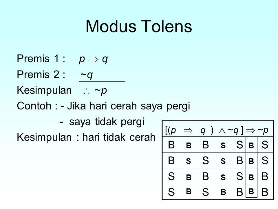 Modus Tolens Premis 1 : p  q Premis 2 : ~q Kesimpulan  ~p B B S S
