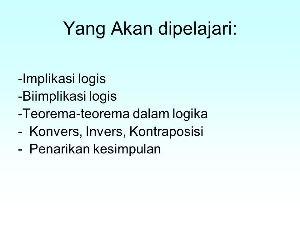 Yang Akan dipelajari: -Implikasi logis -Biimplikasi logis