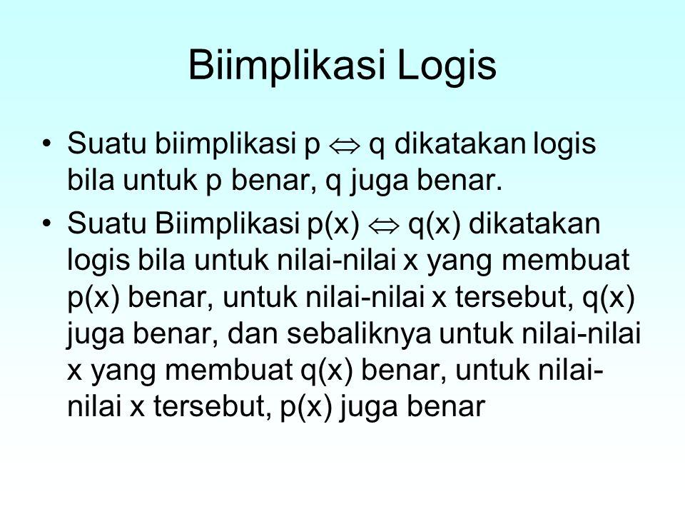 Biimplikasi Logis Suatu biimplikasi p  q dikatakan logis bila untuk p benar, q juga benar.