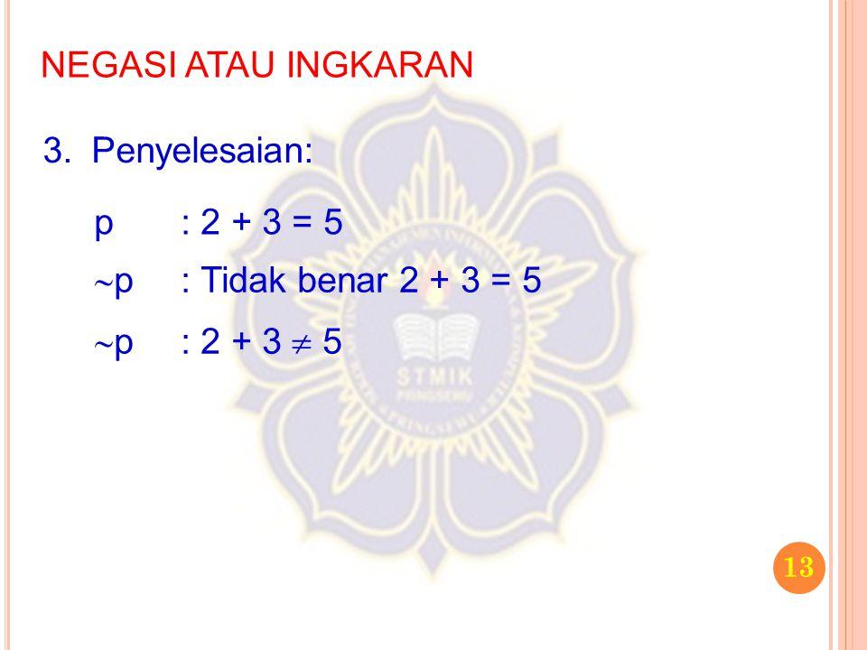NEGASI ATAU INGKARAN Penyelesaian: p : 2 + 3 = 5 p : Tidak benar 2 + 3 = 5 p : 2 + 3  5