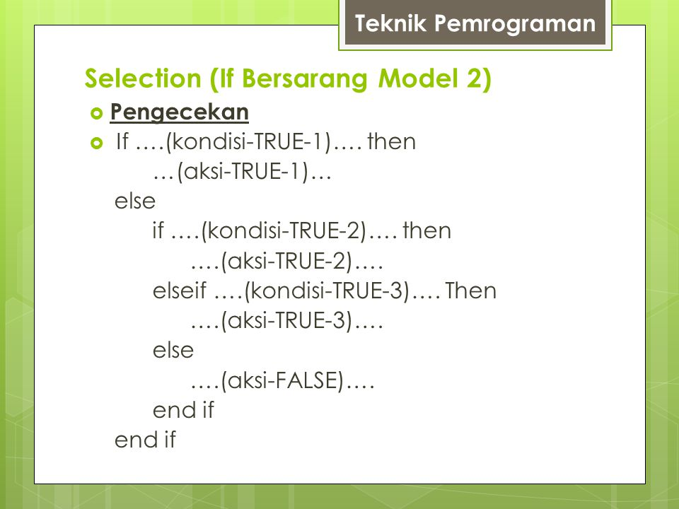 Selection (If Bersarang Model 2)