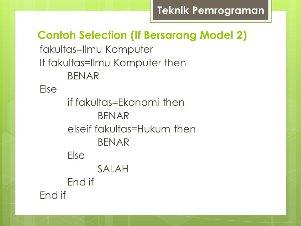 Contoh Selection (If Bersarang Model 2)