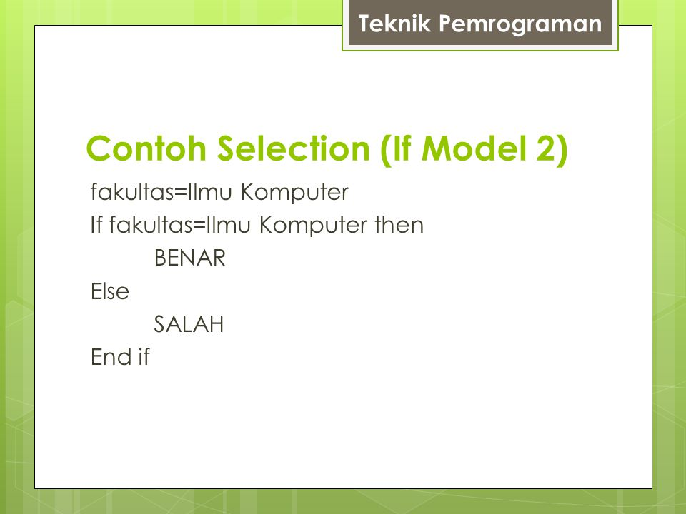 Contoh Selection (If Model 2)