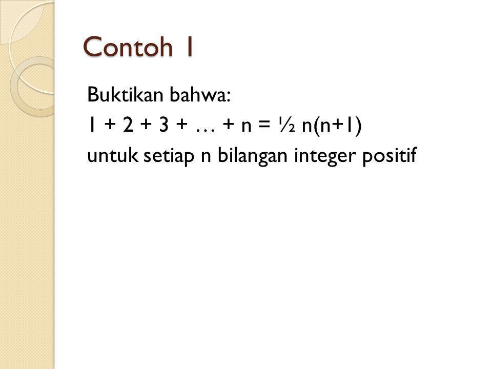 Contoh 1 Buktikan bahwa: 1 + 2 + 3 + … + n = ½ n(n+1)
