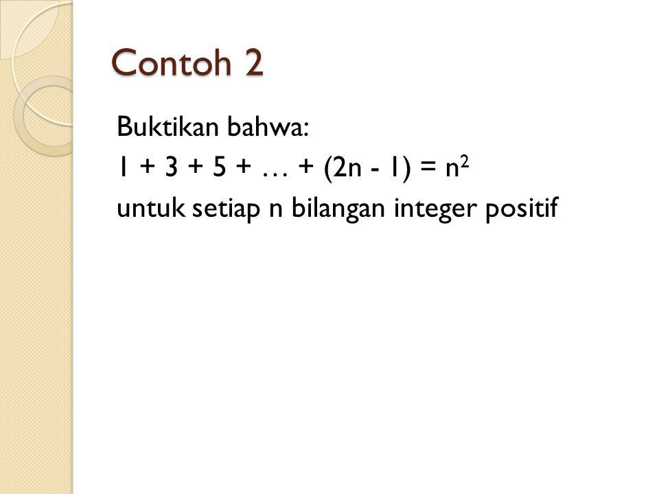 Contoh 2 Buktikan bahwa: 1 + 3 + 5 + … + (2n - 1) = n2 untuk setiap n bilangan integer positif