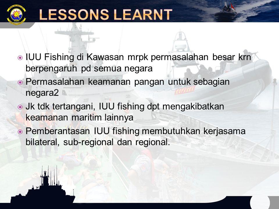 LESSONS LEARNT IUU Fishing di Kawasan mrpk permasalahan besar krn berpengaruh pd semua negara. Permasalahan keamanan pangan untuk sebagian negara2.