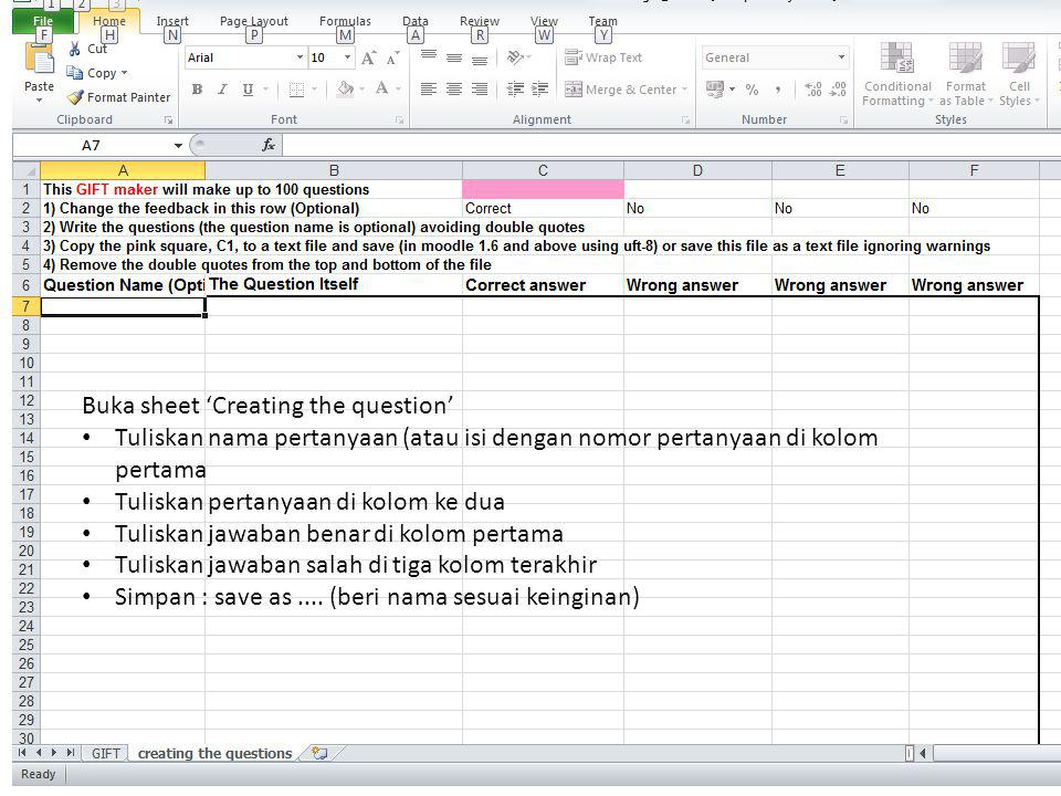 Buka sheet 'Creating the question'