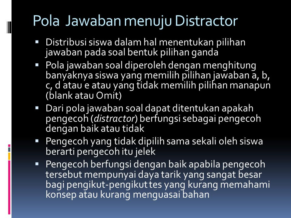 Pola Jawaban menuju Distractor