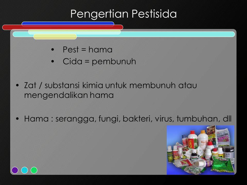Pengertian Pestisida Pest = hama Cida = pembunuh