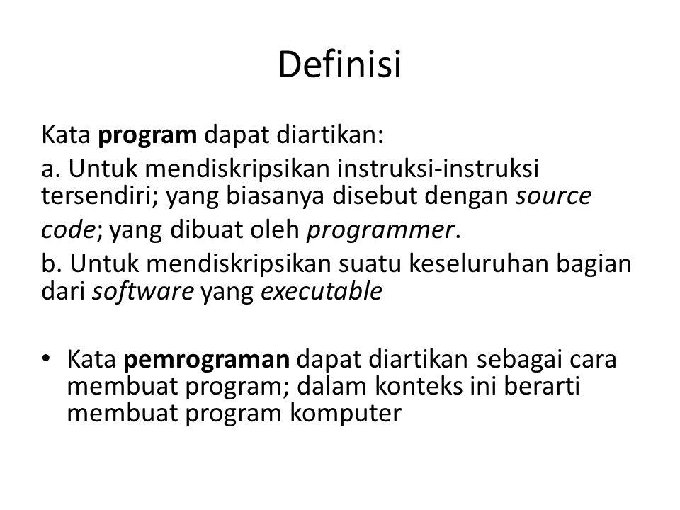 Definisi Kata program dapat diartikan:
