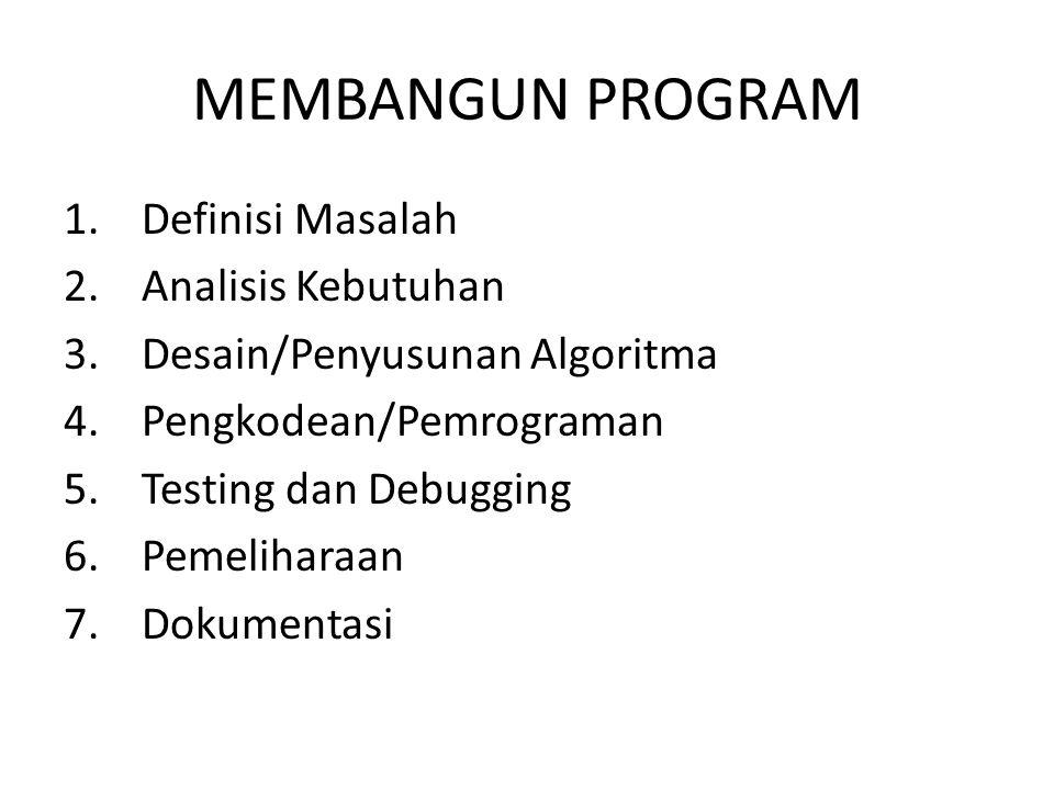 MEMBANGUN PROGRAM 1. Definisi Masalah 2. Analisis Kebutuhan