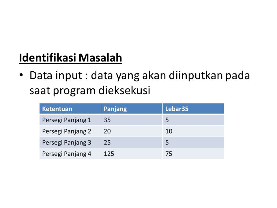 Identifikasi Masalah Data input : data yang akan diinputkan pada saat program dieksekusi