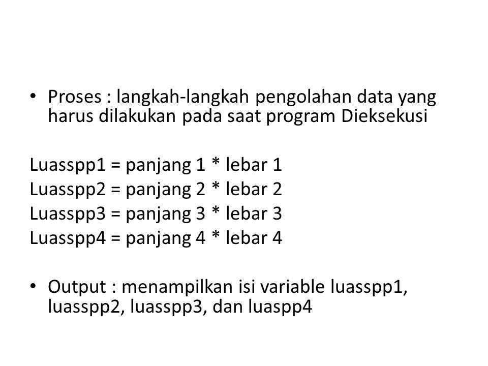 Proses : langkah-langkah pengolahan data yang harus dilakukan pada saat program Dieksekusi