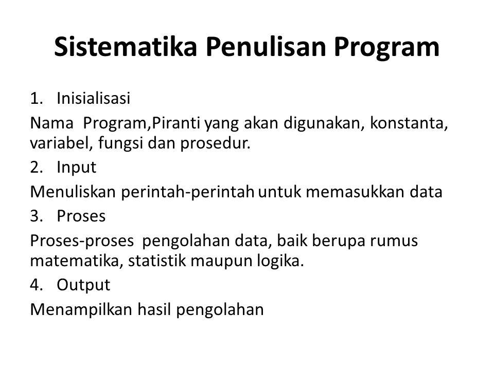 Sistematika Penulisan Program