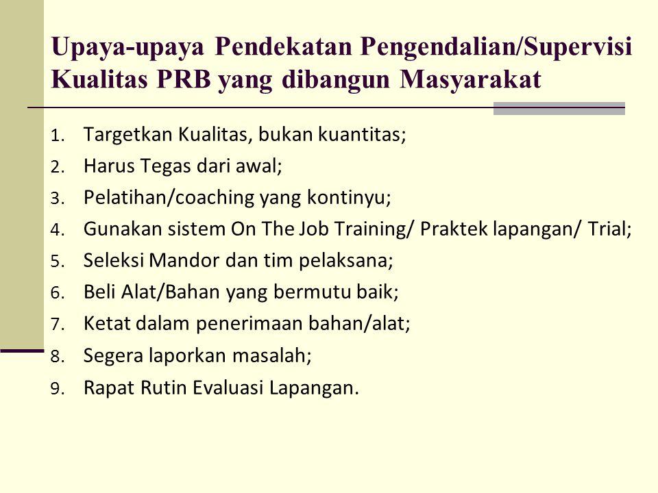 Upaya-upaya Pendekatan Pengendalian/Supervisi Kualitas PRB yang dibangun Masyarakat