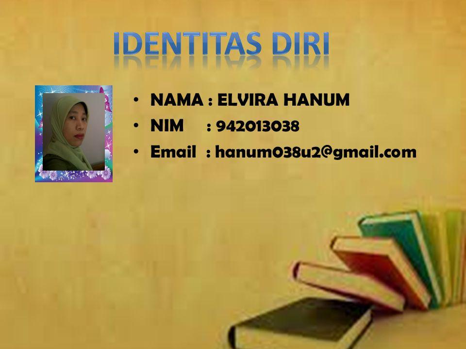 IDENTITAS DIRI NAMA : ELVIRA HANUM NIM : 942013038