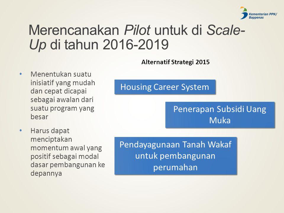 Merencanakan Pilot untuk di Scale-Up di tahun 2016-2019