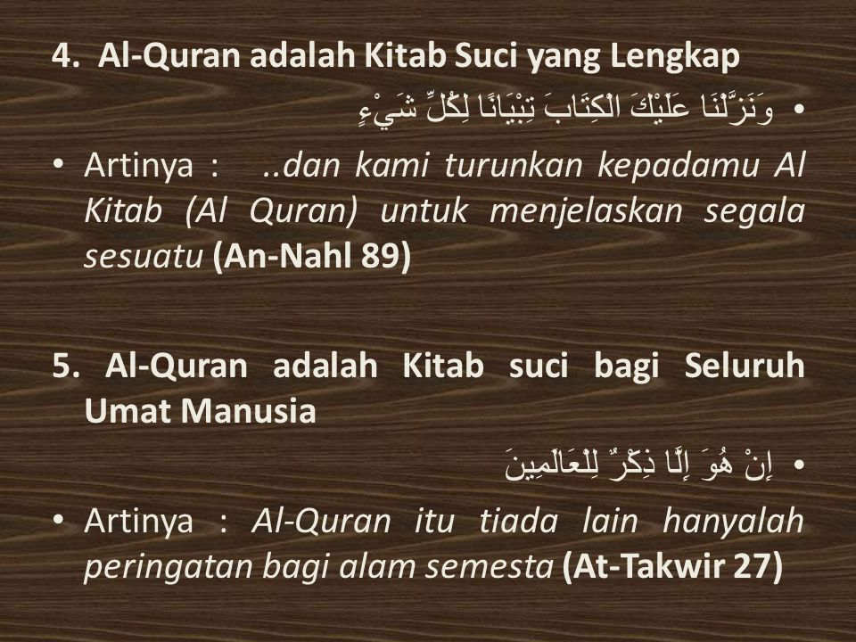 4. Al-Quran adalah Kitab Suci yang Lengkap