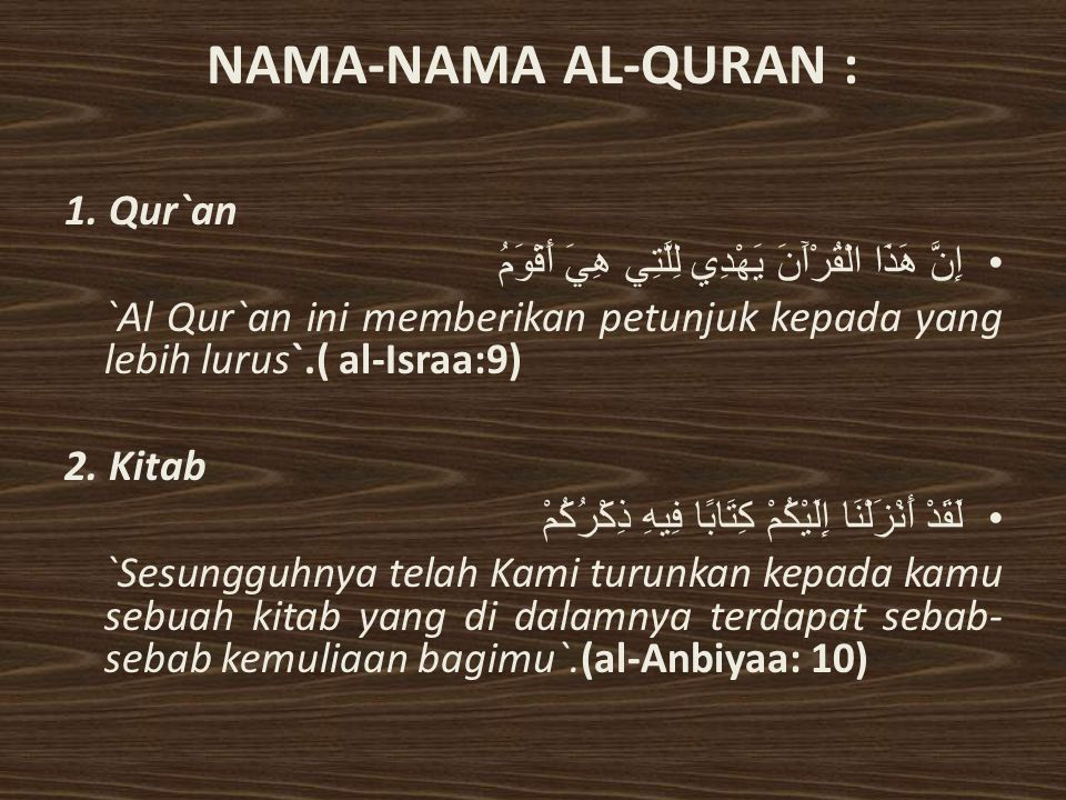 NAMA-NAMA AL-QURAN : 1. Qur`an
