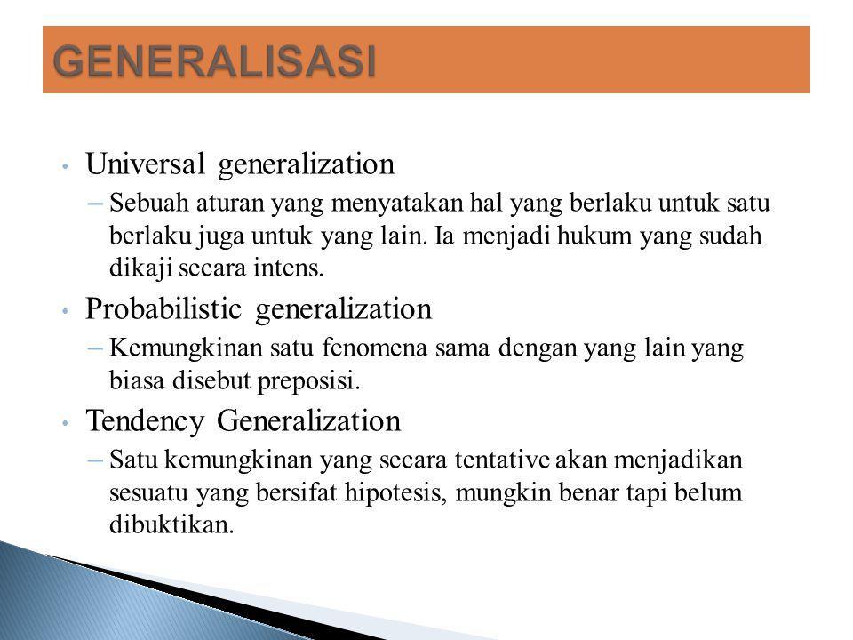 GENERALISASI Universal generalization Probabilistic generalization