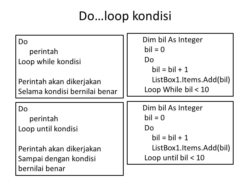 Do…loop kondisi Dim bil As Integer Do bil = 0 perintah Do