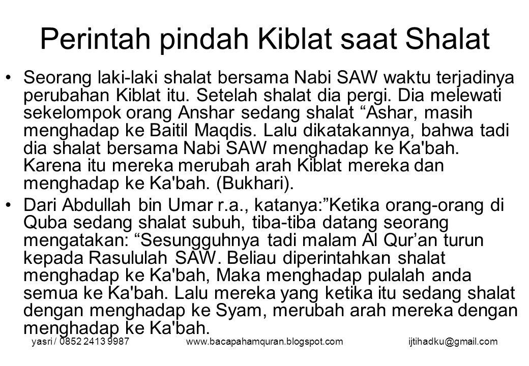 Perintah pindah Kiblat saat Shalat