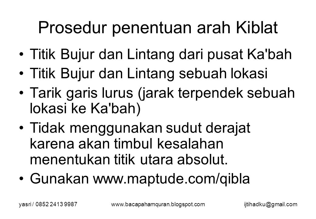 Prosedur penentuan arah Kiblat