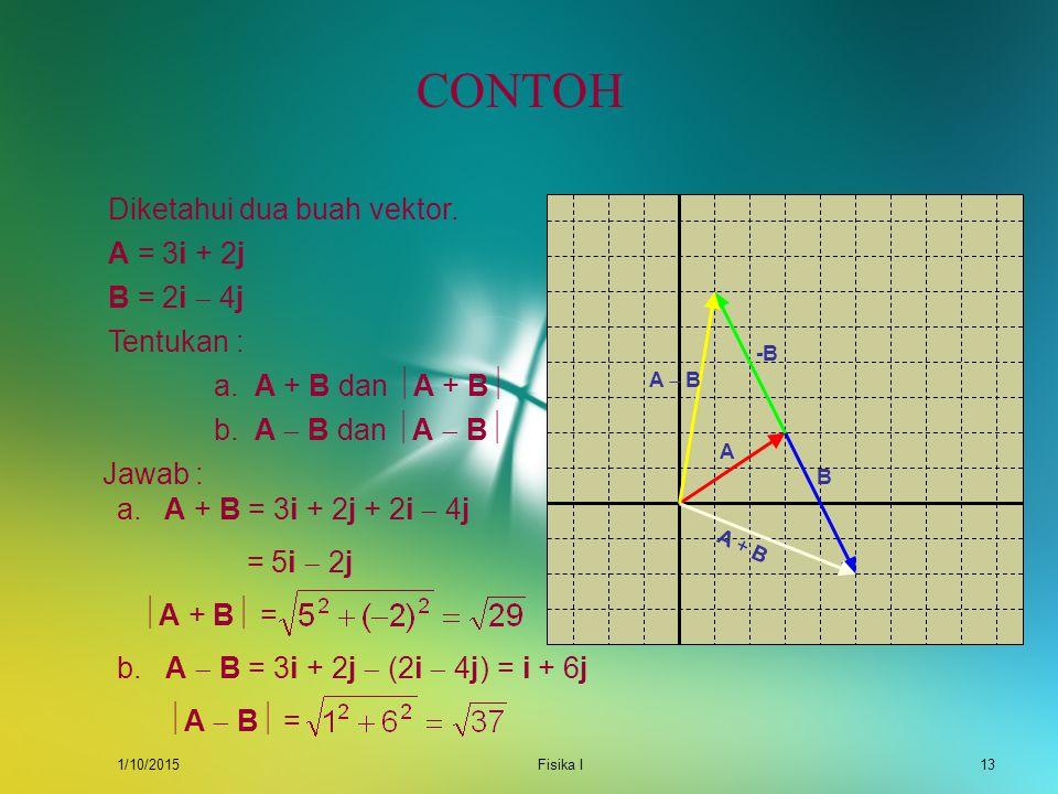 CONTOH Diketahui dua buah vektor. A = 3i + 2j B = 2i  4j Tentukan :