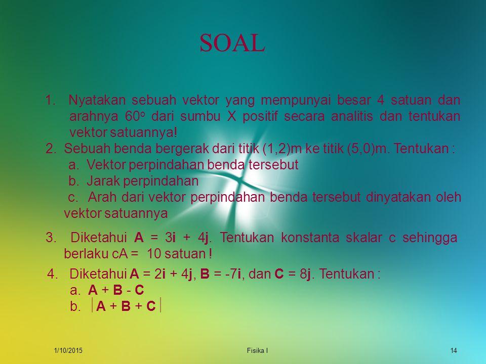 SOAL 1. Nyatakan sebuah vektor yang mempunyai besar 4 satuan dan arahnya 60o dari sumbu X positif secara analitis dan tentukan vektor satuannya!