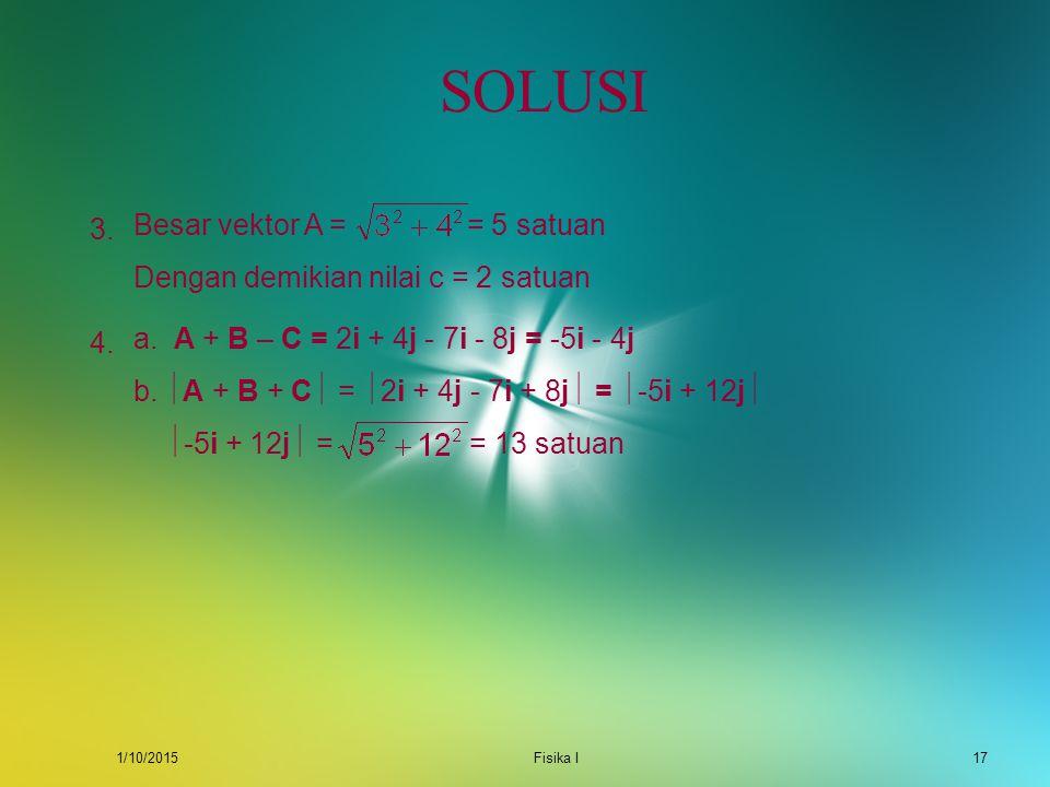 SOLUSI Besar vektor A = = 5 satuan 3.