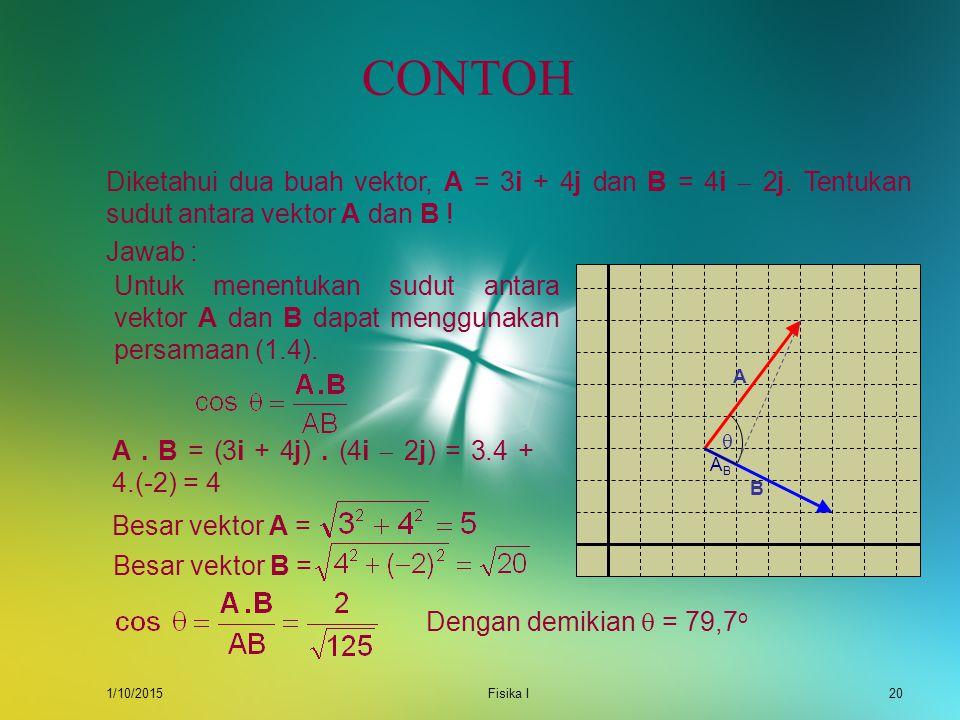 CONTOH Diketahui dua buah vektor, A = 3i + 4j dan B = 4i  2j. Tentukan sudut antara vektor A dan B !