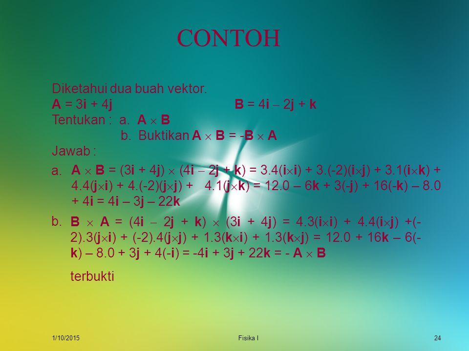 CONTOH Diketahui dua buah vektor. A = 3i + 4j B = 4i  2j + k