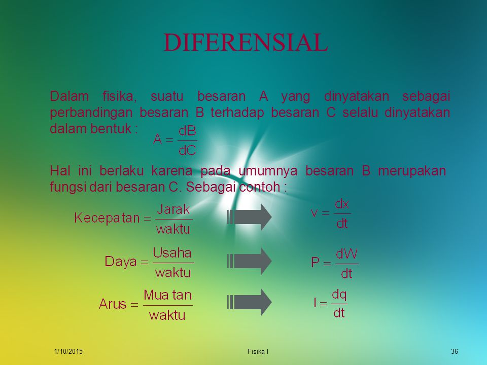 DIFERENSIAL Dalam fisika, suatu besaran A yang dinyatakan sebagai perbandingan besaran B terhadap besaran C selalu dinyatakan dalam bentuk :