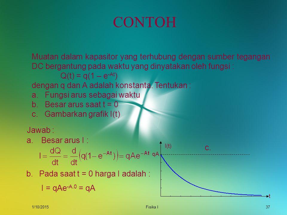 CONTOH Muatan dalam kapasitor yang terhubung dengan sumber tegangan DC bergantung pada waktu yang dinyatakan oleh fungsi :